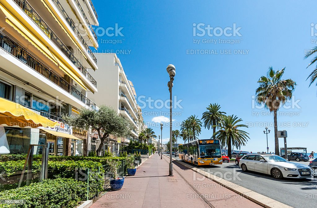 Bus on seafront in Nice, France stock photo