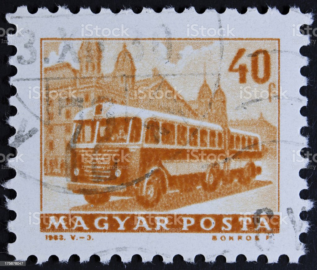 Bus on stamp royalty-free stock photo