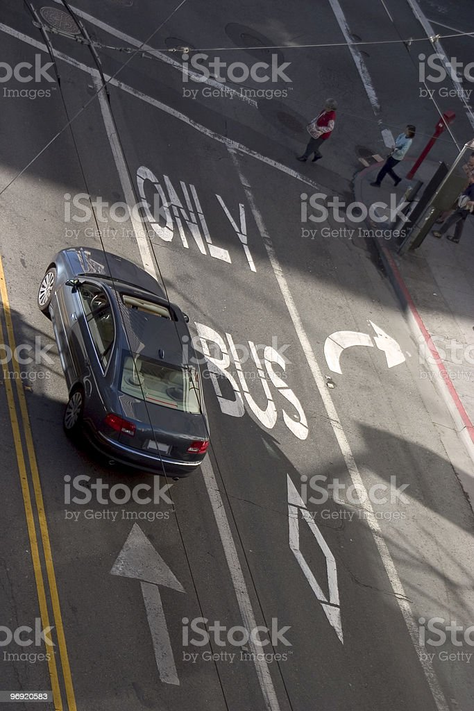 Bus Only Road Markings royalty-free stock photo