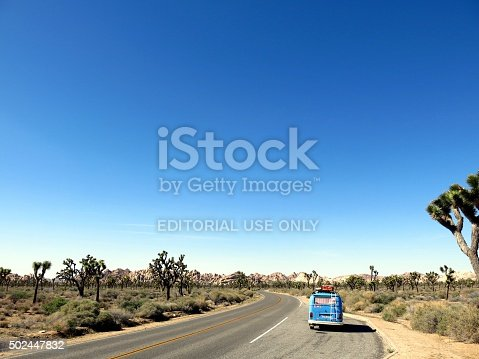 Joshua Tree National Park, USA - December 15, 2015: A blue german VW Bus parked at the side of the road in Joshua Tree National Park, California, USA