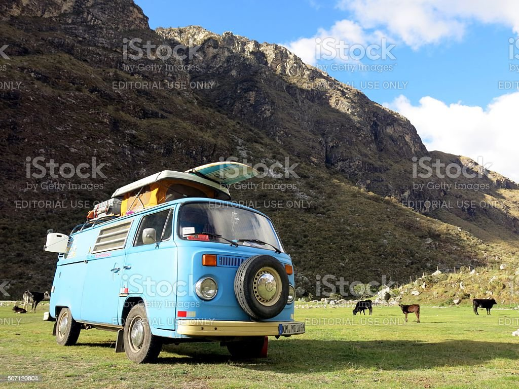 VW Bus parked in the mountains of Peru stock photo