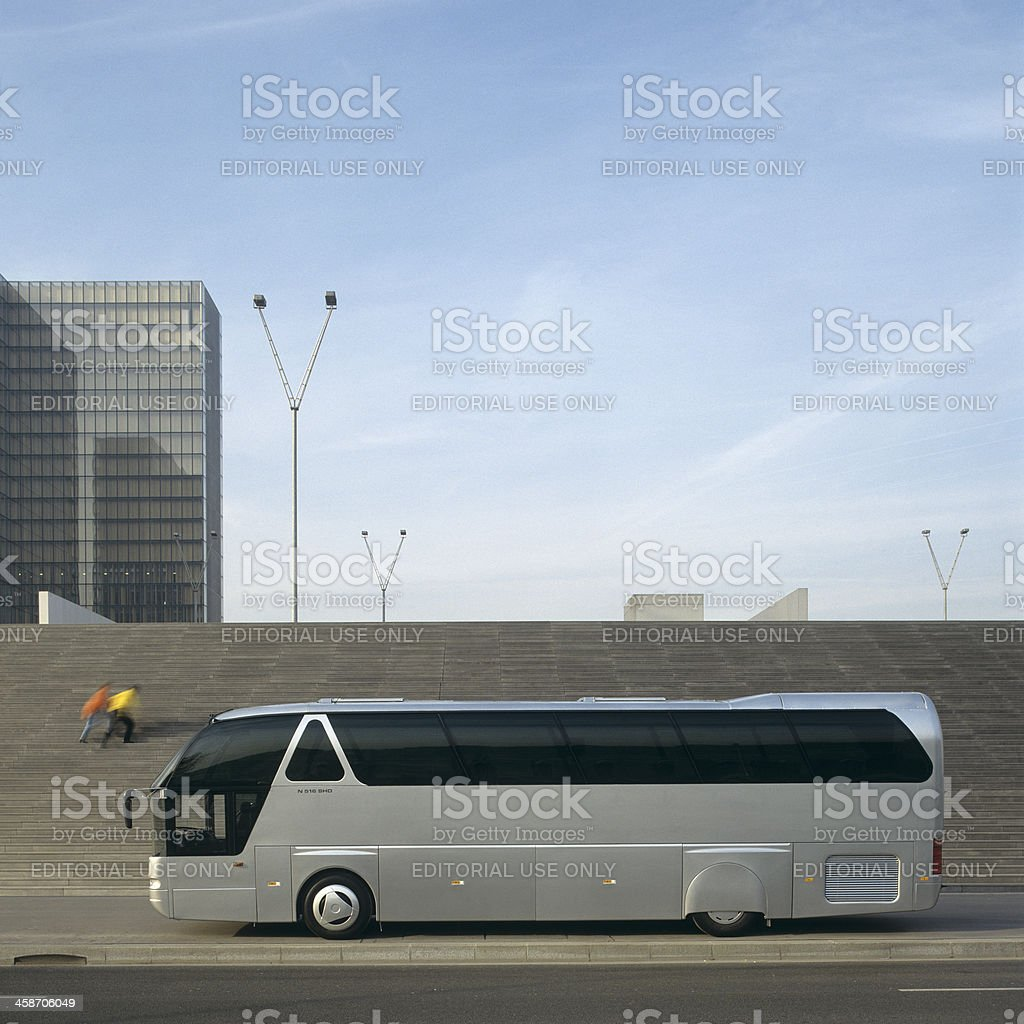 Bus parking in front of the National Library Paris stock photo