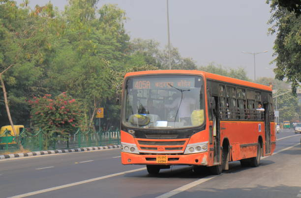 Bus public transport New Delhi India stock photo