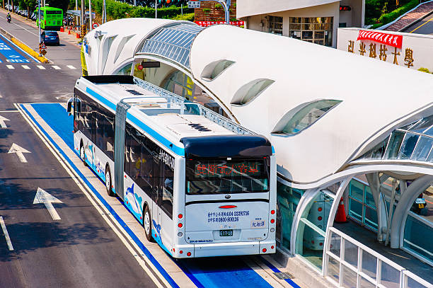 bus rapid transit (BRT) system in Taichung, Taiwan. Taichung, Taiwan - August 2, 2014: bus rapid transit (BRT) system in Taichung, Taiwan. it is converted to a dedicated bus lane on July 8, 2015 and the BRT is no longer in operation. bus rapid transit stock pictures, royalty-free photos & images