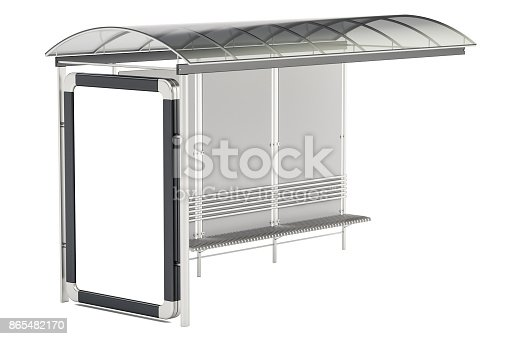 istock Bus Shelter with advertising panel, 3D rendering isolated on white background 865482170