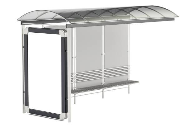Abrigo de ônibus, com painel de publicidade, 3D, renderização isolado no fundo branco - foto de acervo