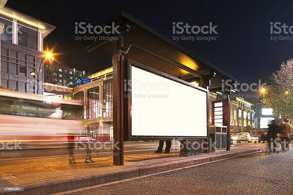bus station at night stock photo