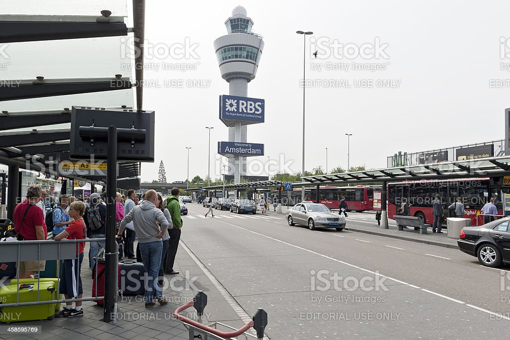 Bus station at Schiphol Airport stock photo