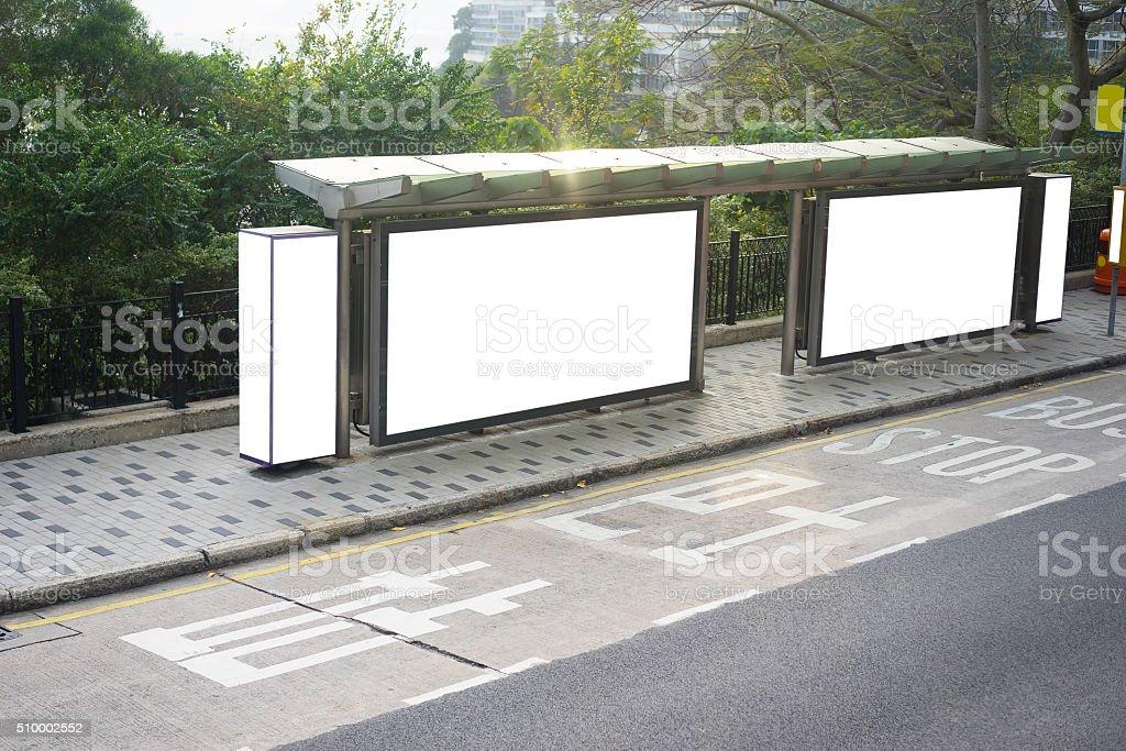 bus station billboard stock photo