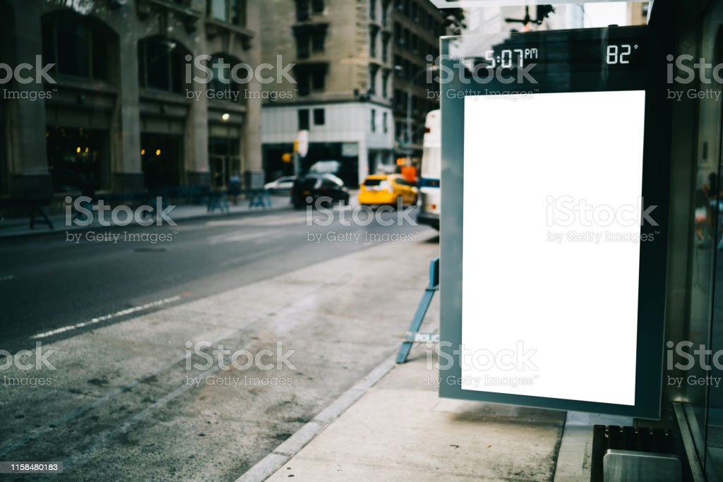Bus station billboard with blank copy space screen for advertising...