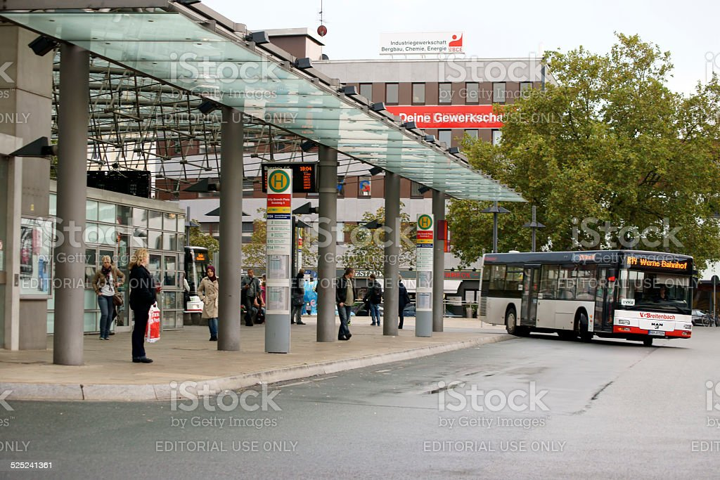 Bus station Hamm stock photo