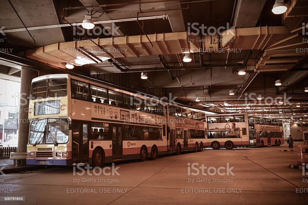 Bus Station in Hong Kong stock photo