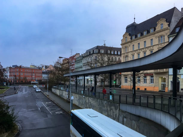 Bus station in Karlovy Vary stock photo