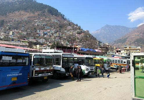 Bus station in Kullu, Himachal Pradesh India February 8, 2018 with beautiful mountain view