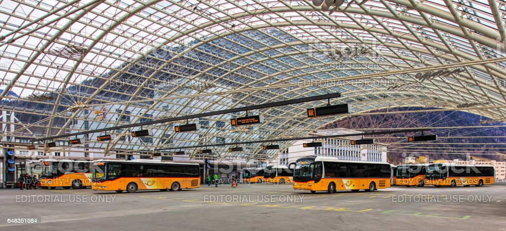 Bus station in the city of Chur in Switzerland stock photo
