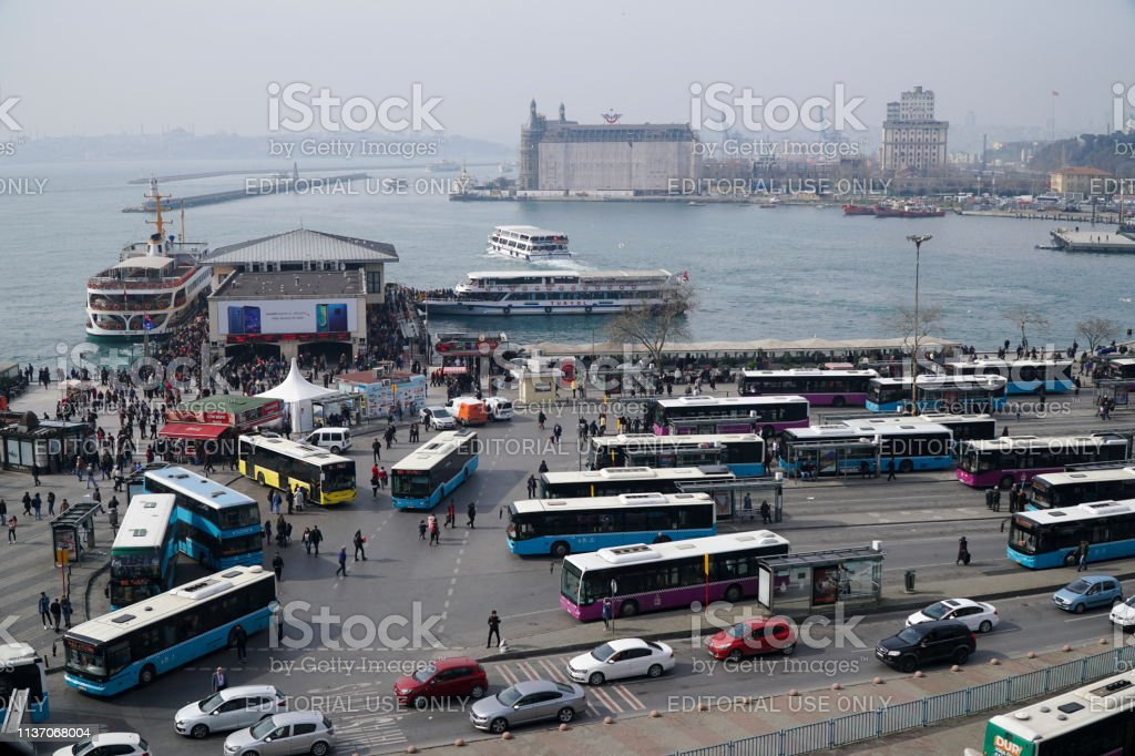 Bus station pier and ferry boats at The Kadikoy coastline from high angle view stock photo