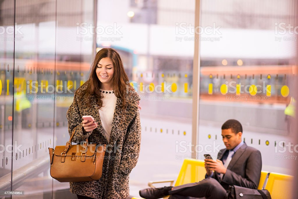 bus station texter stock photo