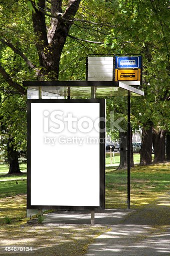 istock Bus station with blank billboard 484670134