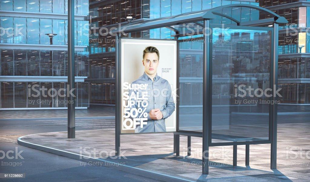 arrêt de bus vente du mode rendu 3d - Photo