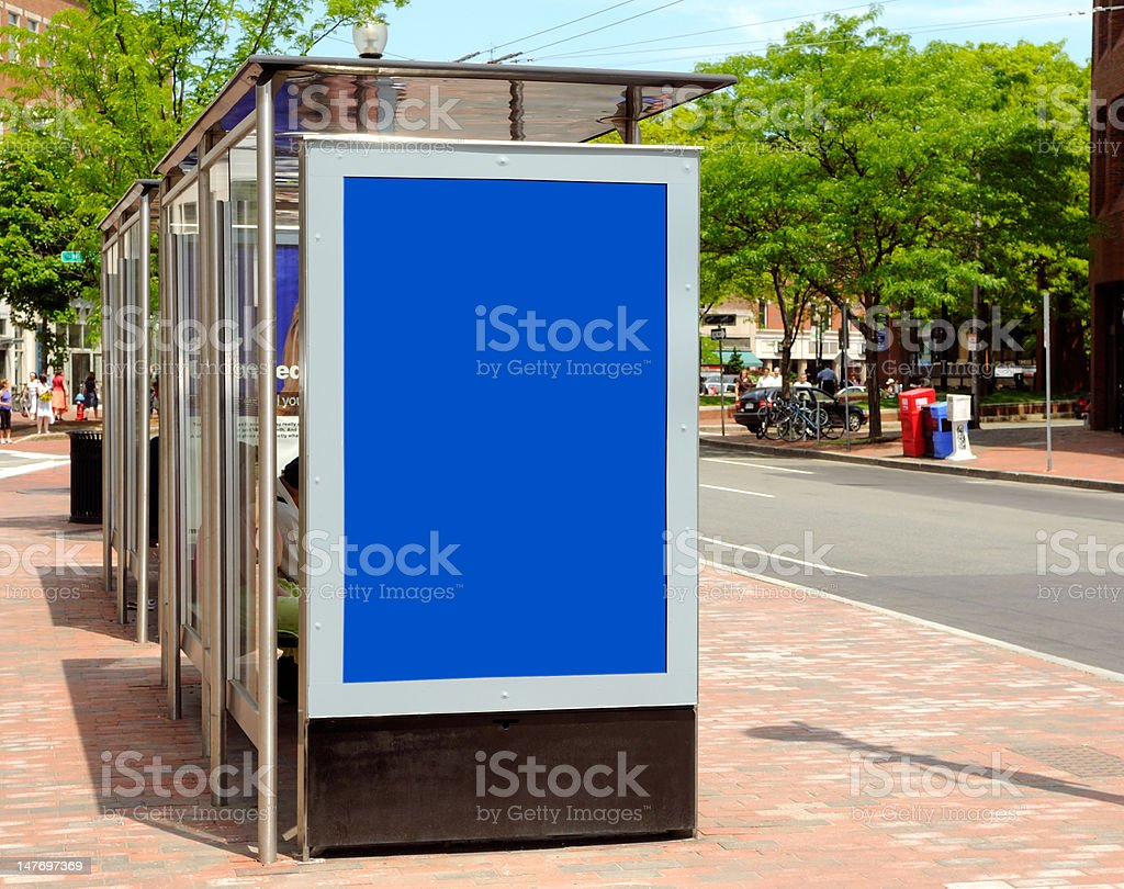 Bus Stop Advertisement royalty-free stock photo