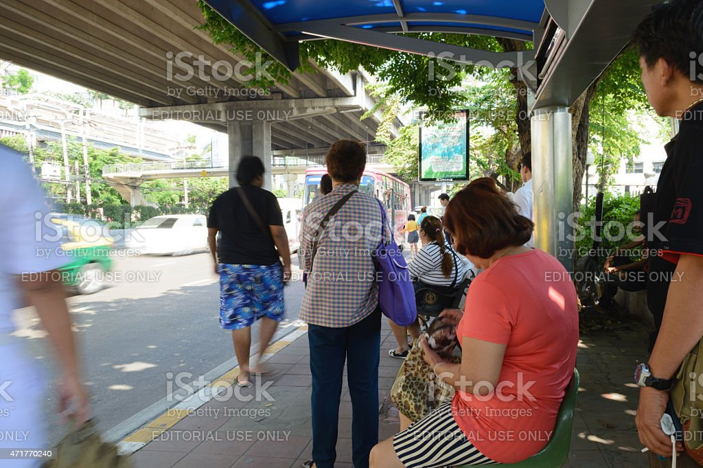 bus stop at CentralPlaza Pinklao stock photo