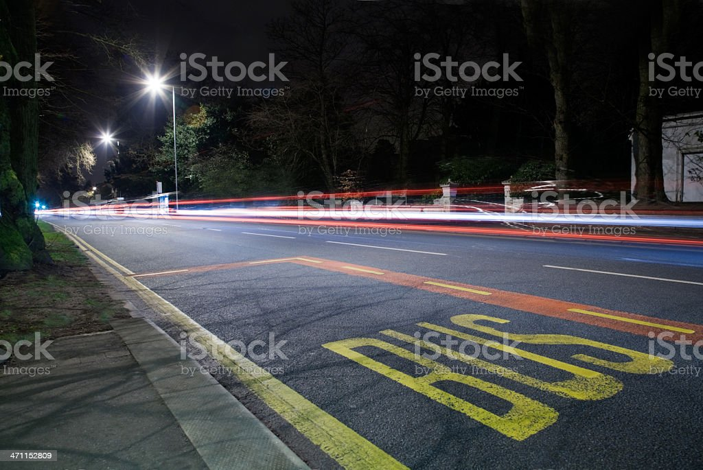 Bus Stop at Night /Light Trails-See lightbox below for more royalty-free stock photo