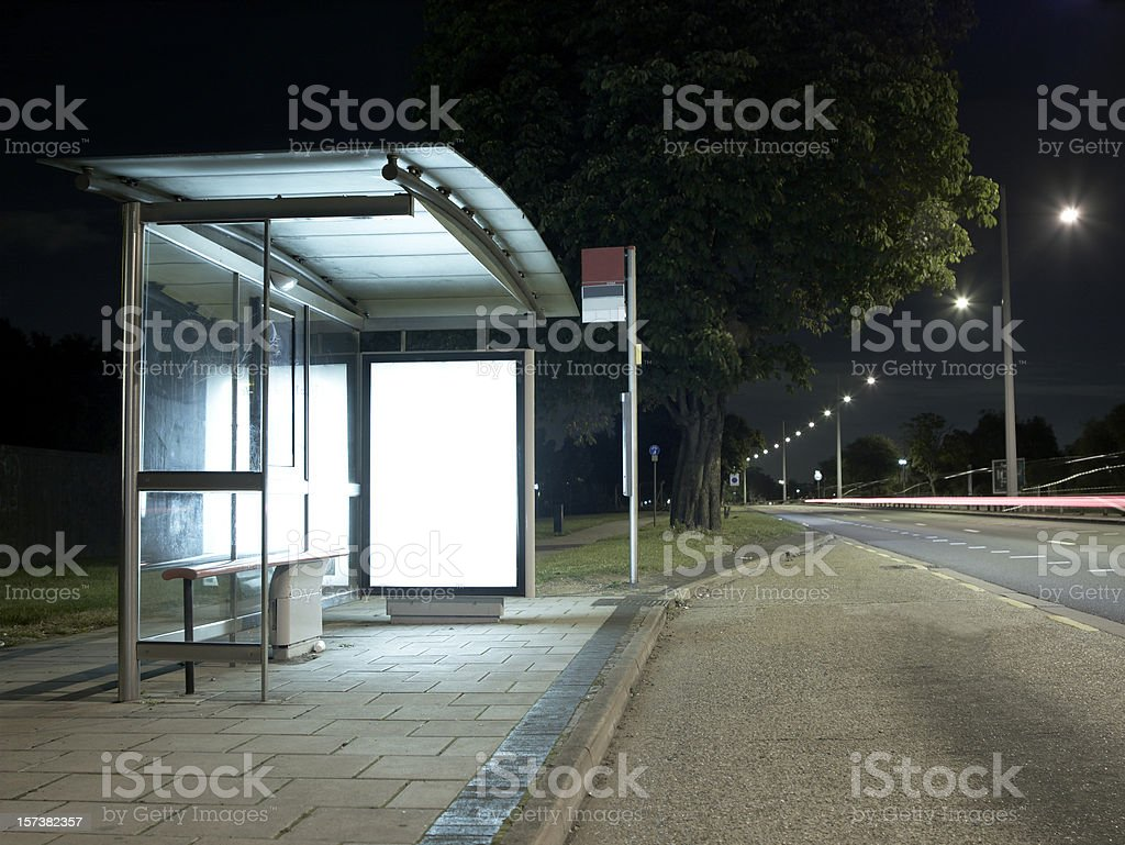 Bus Stop at night stock photo