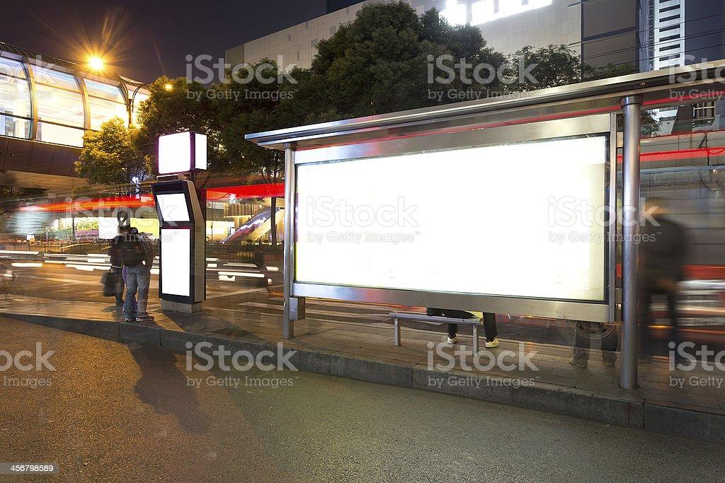 bus stop at night royalty-free stock photo