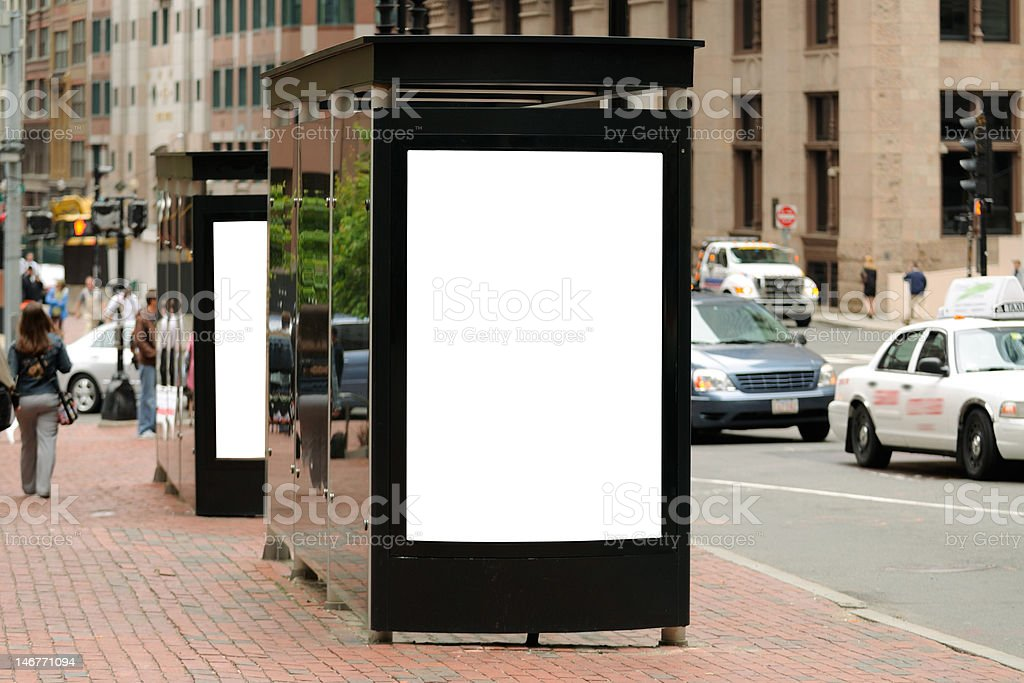 Bus stop billboard in the City stock photo