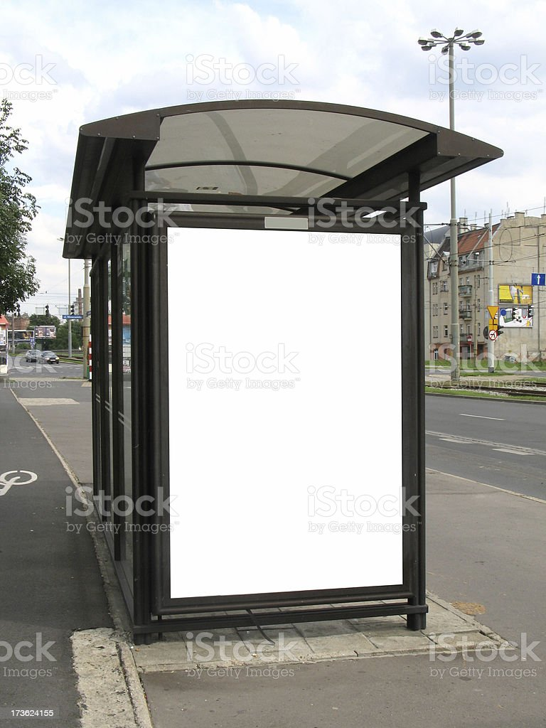 Bus stop billboard on city street work path on ad] stock photo