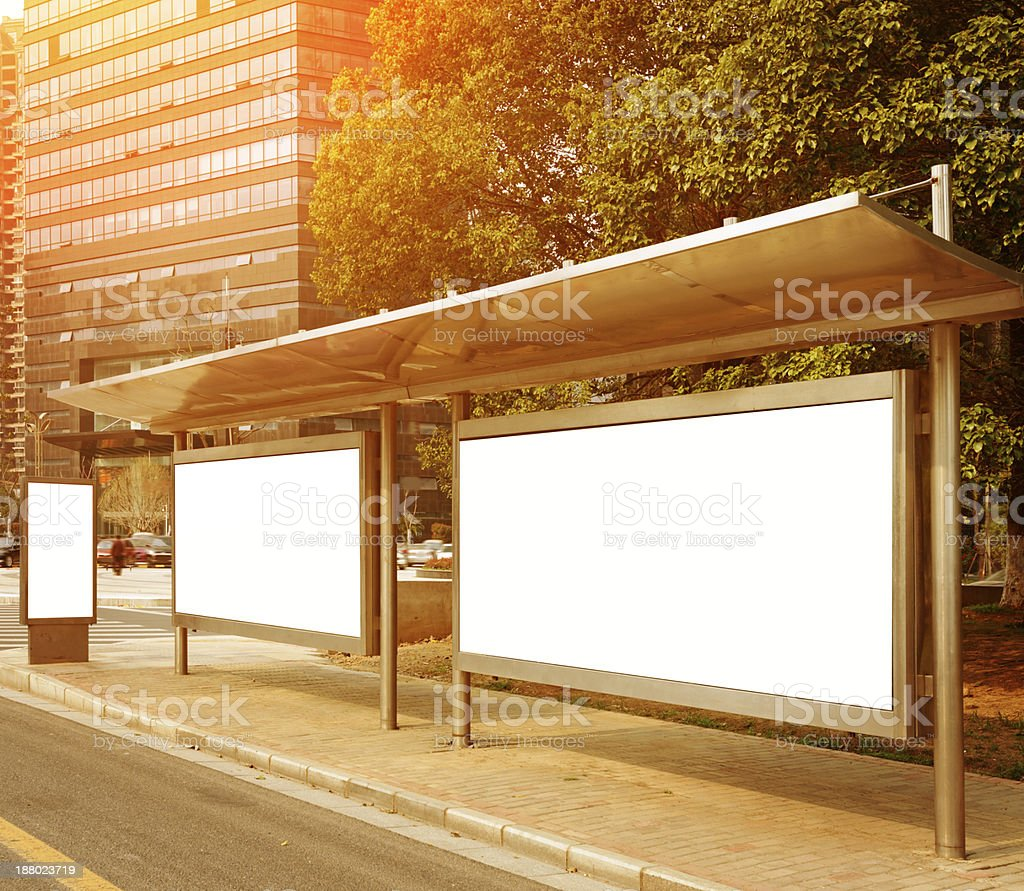Bus stop billboard royalty-free stock photo