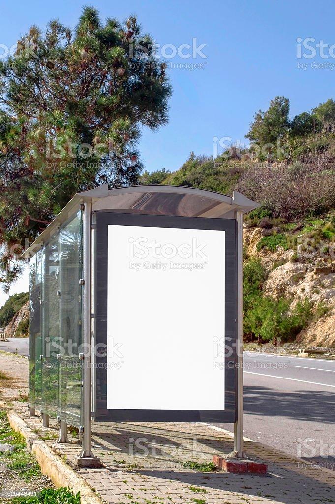 Bus stop billboard stock photo