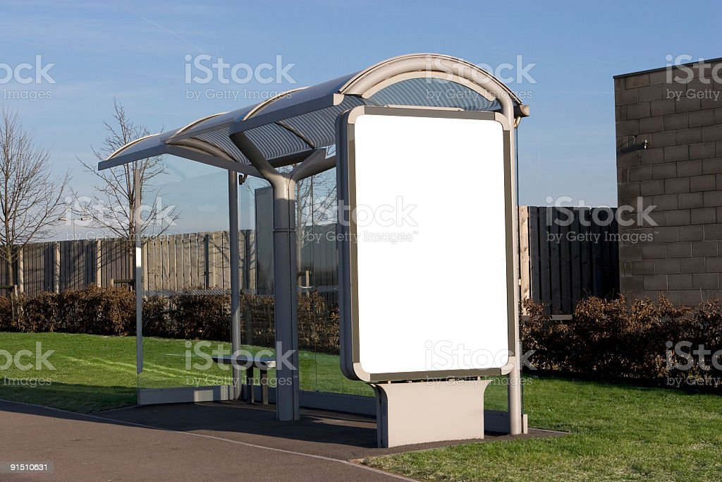 Bus Stop Billboard (+ Clipping Path) royalty-free stock photo