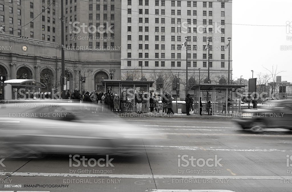 Bus Stop Blur stock photo