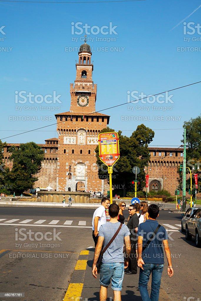 Bus stop Castello Sforzesco royalty-free stock photo