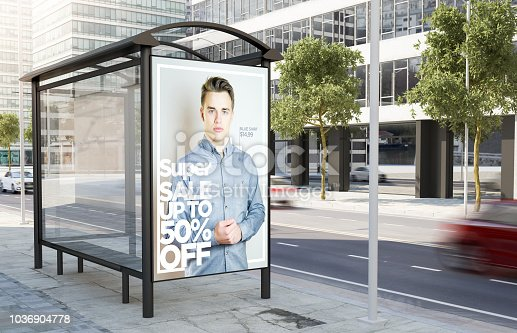 bus stop fashion advertising billboard on the street 3d rendering