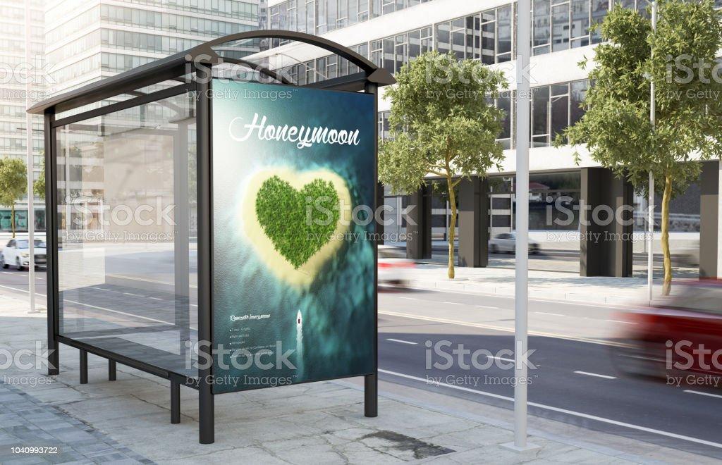 arrêt de bus anglo-saxon de publicité lune de miel - Photo
