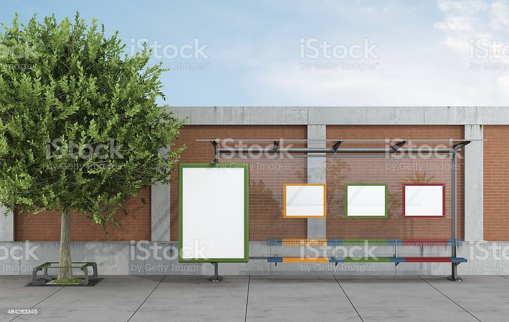 Bus stop in a urban street royalty-free stock photo