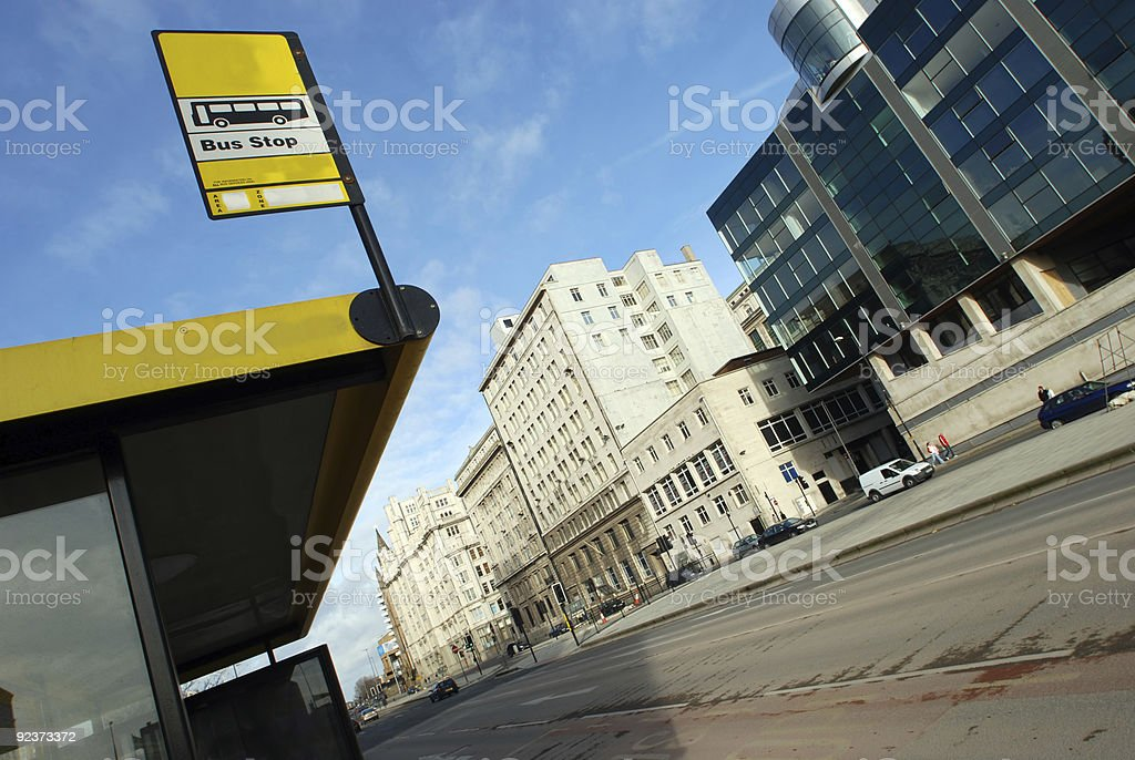 Bus stop in city royalty-free stock photo