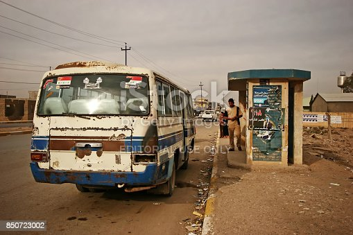 Kirkuk,Iraq - December 06 2005 : A bus stop in Kirkuk.