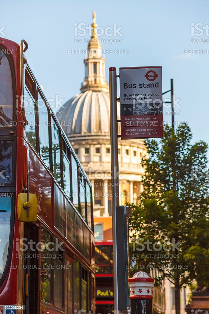 Bus stop in London with the St Paul's stock photo