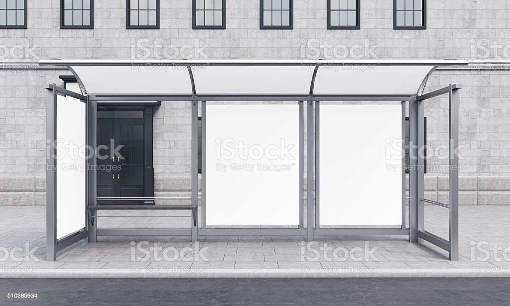 Bus stop in the city stock photo