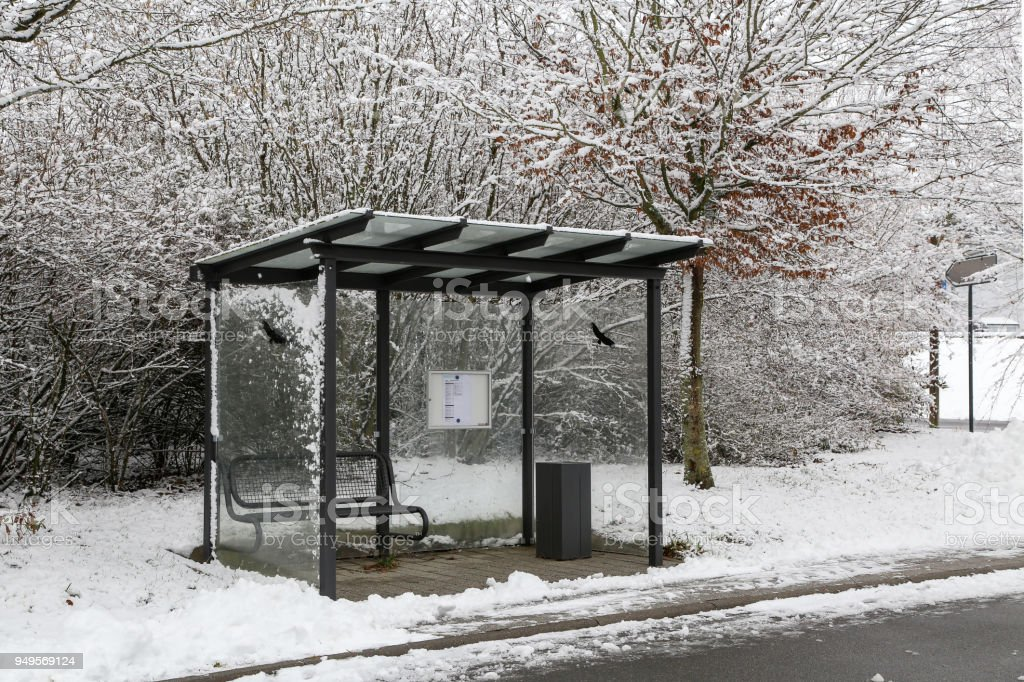 Bus stop in winter stock photo