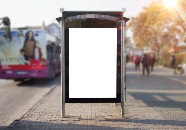 bus stop mockup blank frame - ad template stock photos and pictures