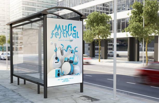Bushaltestelle Musikfestival Plakatwand – Foto