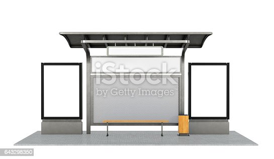 istock Bus stop on the white background 643298350