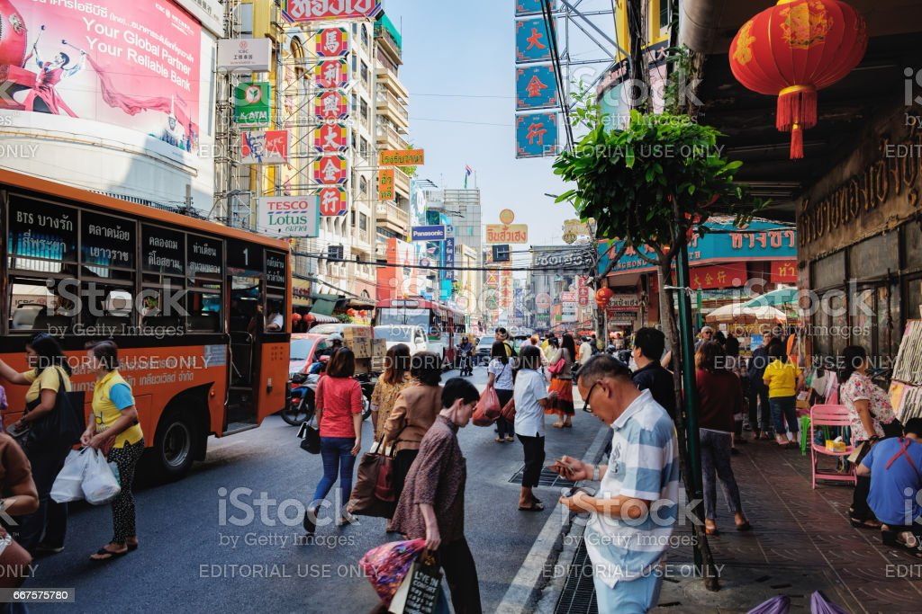 Bus stop on the Yaowarat road,Bangkok, Thailand stock photo