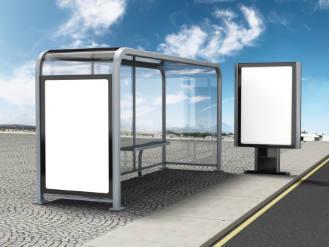 Computer generated bus stop with two ad spaces. Clipping path is included for the blank spaces.