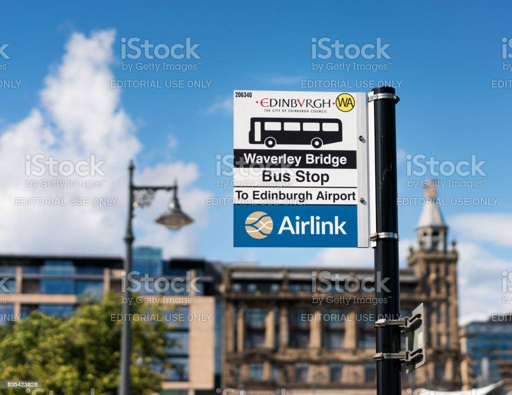Bus stop sign in Edinburgh, Scotland stock photo