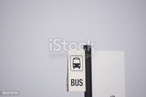 istock Bus stop - sign 822079702